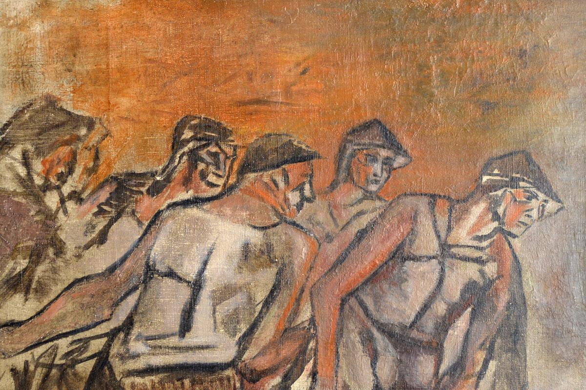 Ouvriers au travail, Lucien LANTIER (1879-1960), vers 1925, huile sur toile (inv.2017.2.1).