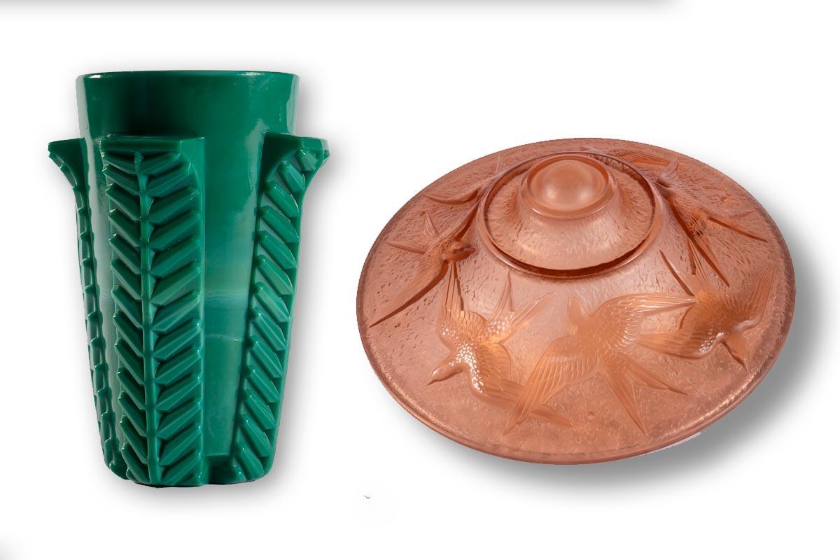 Vase et vasque de suspension, verrerie Model, Verdun, vers 1930-1940, verre pressé-moulé (inv.2019.2.1 et 2019.3.1)